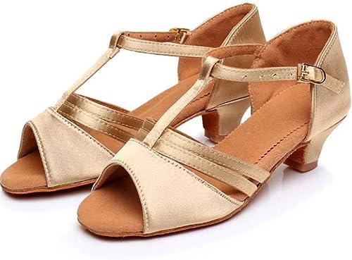 Gj Semelle intermédiaire Entre Filles européennes et américaines de 4 cm avec des Chaussures de Danse Latine à Fond Mou (Couleur   lumière Skin, Taille   39 EU)