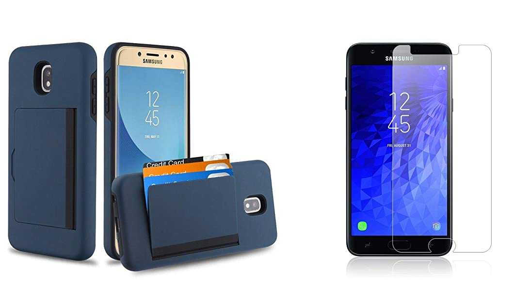 Bemz Wallet Case Designed for Samsung Galaxy J7 (J7 V 2nd Gen, Crown, Star, Crown, Aura, Refine) with Full Body Slim Shockproof 3X Card Holder Cover (Dark Blue) and Tempered Glass Screen Protector