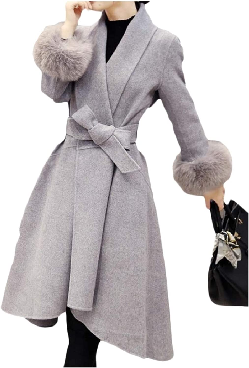 Baseby Women Fashion Belted Design Wool Blended Dress Long Trench Coat