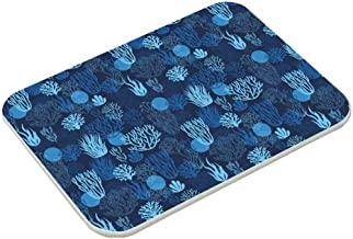 Bath Mat, Absorbent Diatomaceous Earth Bath Mat, Blue Pattern Turquoise Design Electric Blue Plant Flower Pattern Wildflow...
