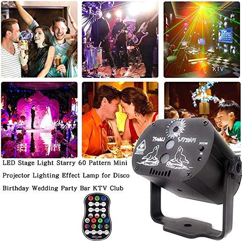 Xiaolizi 60 Patterns RGB LED Luce della Discoteca del USB 5V di Ricarica RGB La-Ser Lampada di proiezione della Luce della Fase Spettacolo per Il Partito Domestico KTV DJ Dance Floor