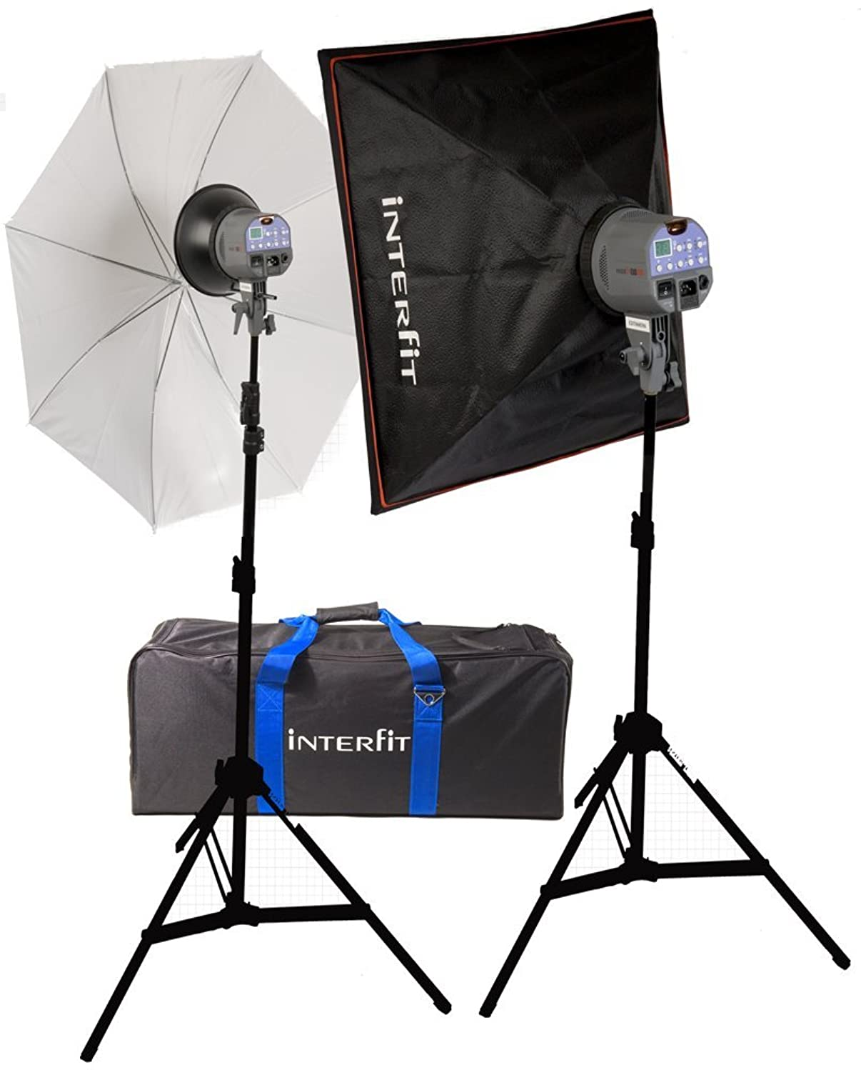 Interfit INT119 EXD 200Watt/second 2 Head Digital Umbrella Softbox Kit (Gray)