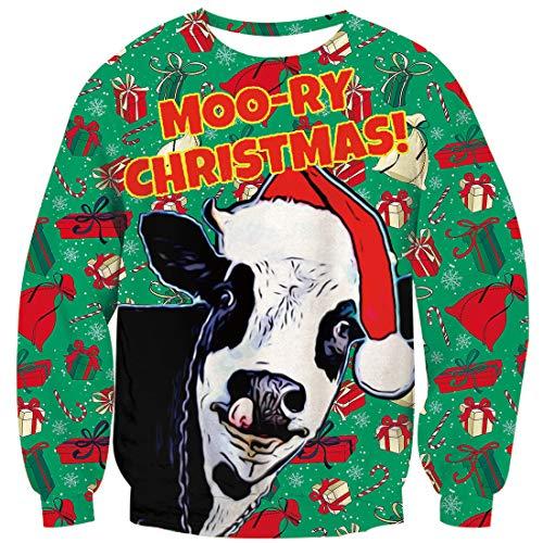 Goodstoworld Sweatshirt 3D Cow Unisex Lächerlich LangarmshirtWeihnachtspullover Witzige Hässlich Neuheit Stil Jumper Pullover Fleece Futter Kuh L