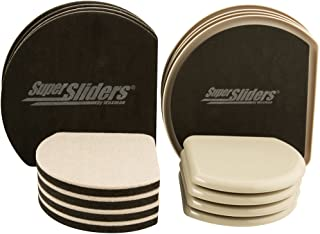 SuperSliders 4734595N Reusable Slide and Hide Multi-Size Value Pack for both Carpeted & Hard Floor Surfaces-Square Edge for Walls & Corners, Linen (16 Pack)