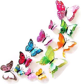 Baanuse Adhesivos 3D decorativos para pared, diseño de mariposas. 12 unidades
