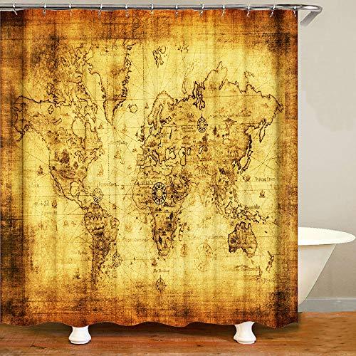 Shocur Duschvorhang mit Weltkarten-Motiv, nautische Route & Geographie, Landkarte, gezeichnet, 183 x 183 cm, Vintage-Thema, Badvorhänge, Polyester-Stoff, Badezimmer-Dekor-Set mit 12 Haken, Goldgelb