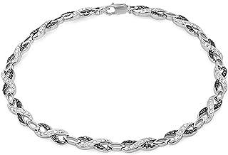 Dazzlingrock Collection 0.36 Carat (ctw) Round Black & White Diamond Ladies Infinity Tennis Link Bracelet 1/3 CT, Sterling Silver