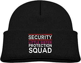 Kocvbng I Beanie Cap Knit Hat Security Little Sister Protection Squad Warm Baby Girls