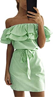 Women Summer Striped Off The Shoulder Ruffle Dress with Belt