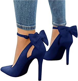 YOMISOY Womens High Heel Pump Bowtie Pointed Toe Ankle Strap Buckle Summer Party Wedding Shoes