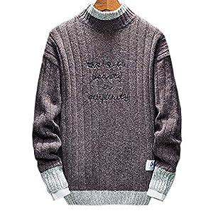 Mikino ニット メンズ あったか タートルネック ケーブルニット セーター メンズ クルーネック 襟セーター カットソー グラデーション 長袖 ゆったり 秋冬 刺繍 ロング丈 おしゃれ 大きめ 防寒 かっこいい 棕色XL