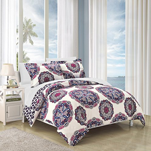 Chic Home DS3492-WT 2 Piece Ibiza Super Soft Microfiber Large Medallion Reversible with Geometric Printed Backing Twin Duvet Cover Set Navy