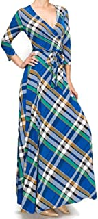 Blue Green Plaid Faux Wrap Maxi Dress