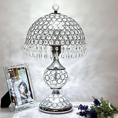 XINYE Cristal Lampe de table Chambre Lampe de chevet Double Commutateur Contrôle Veilleuse avec Métal Base, Silver