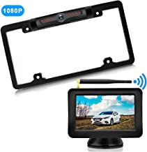 URVOLAX-Wireless Backup Camera License Plate-Monitor Kit 5 inch 1080P HD Universal Reverse-Rear View Camera IP69K Waterproof 170°Wide View Angle,Digital Stable Signal,Easy Installation