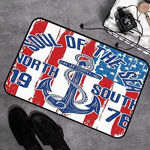 Memory Foam Badezimmer,Anker, Vintage Design Anker mit Seil auf Grunge amerikanische Flagge Seele des Meeres Kunst deko,Badeteppiche Saugfähige Rutschfester Badvorleger Waschbar Badematte - 45 x 75 cm