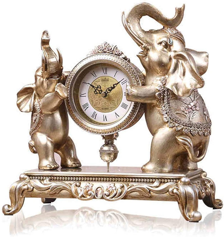 デスククロックファミリークロック象置時計、樹脂レトロミュート装飾寝室のベッドサイドの装飾リビングルームの寝室のオフィスに適して