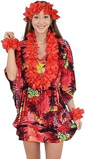 Island Style Clothing Ladies Short Kaftan Poncho Dress Beach Cover-Up Floral Resortwear Fancy Dress + Hawaiian Lei Set