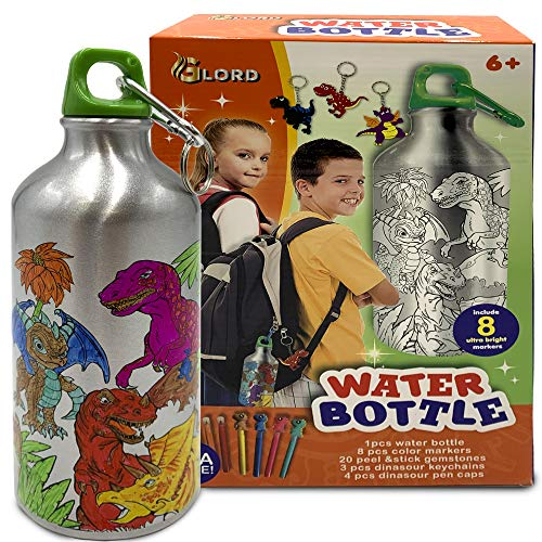 GLORD Color Your Own Water Bottle Kit - Aluminum 16.9fl oz No-BPA Bottle, 20 Gem Stickers, 3 Dinosaur Keychains & 8 Coloring Markers - DIY Creative Craft Set - Decorate Personalized Bottles for Kids,
