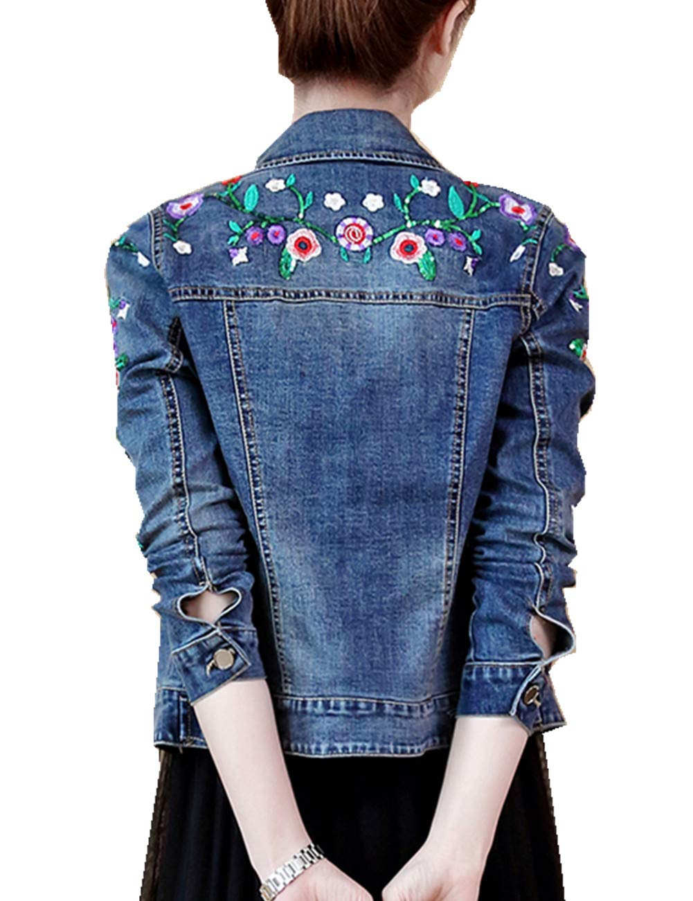 IRISIE Women Lightweight Rose Embroidered Long Sleeve Denim Jacket