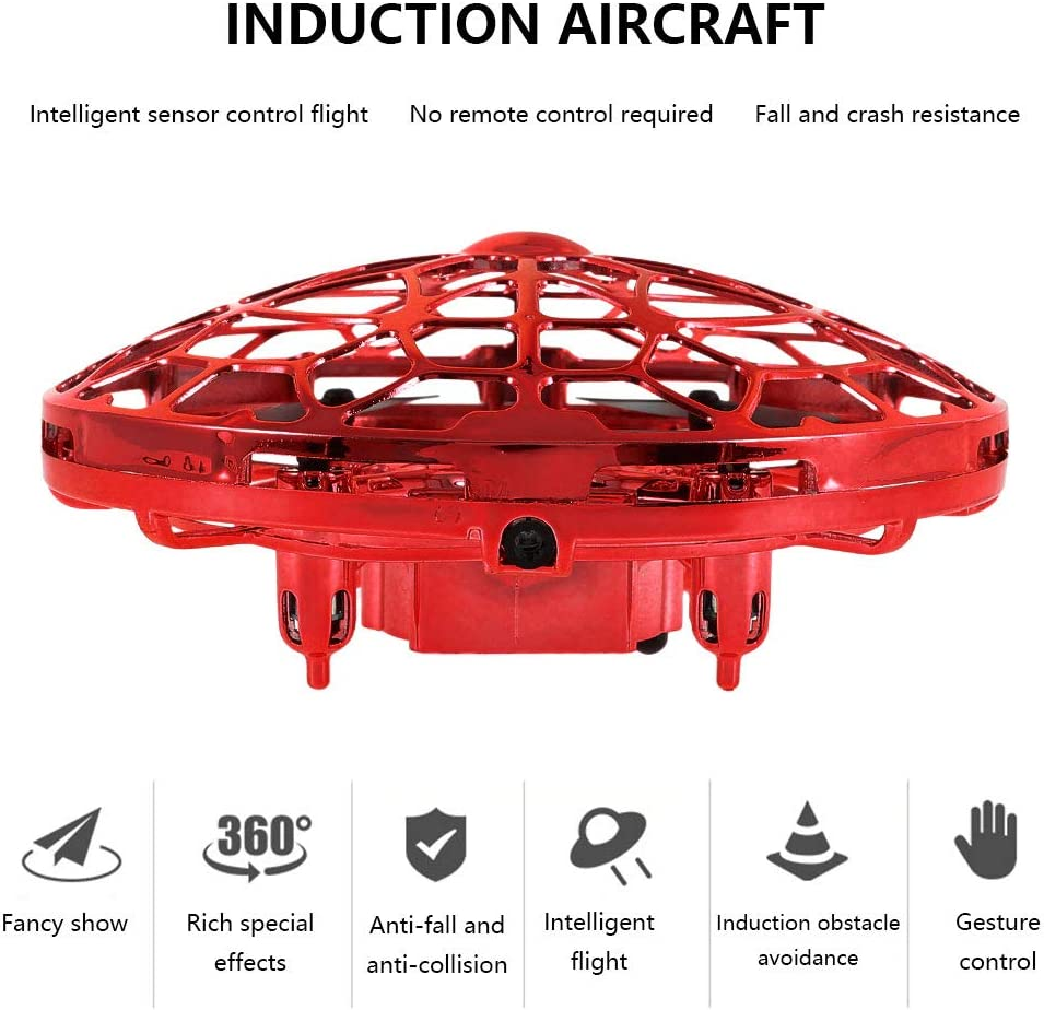 Red UFO Mini Drone UFO Drone Toy Hand Helicopter Flying Saucer Toys Infrared Induction Rechargeable Flying Aircraft Toys Games for Girls Boys Children Adults Indoor Outdoor Xmas Gifts