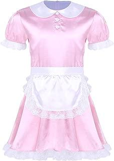 winying Mens Sissy French Maid Uniform Crossdress Cosplay Costume Fancy Dress Apron Headband Outfits