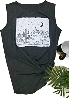54a9619f03e Desert Starry Night Woman Tank Tops Casual Sleeveless Funny Cactus Cute  Graphic Blouse Tee