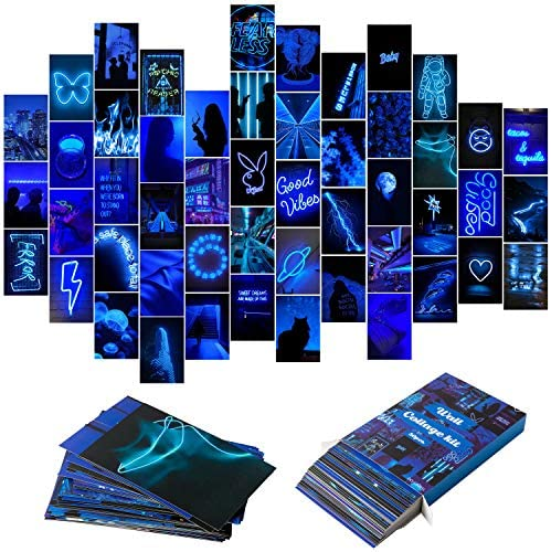 YINGENIVA 50PCS Blue Neon Aesthetic Pictures Wall Collage Kit Neon Blue Photo Collections Collage product image