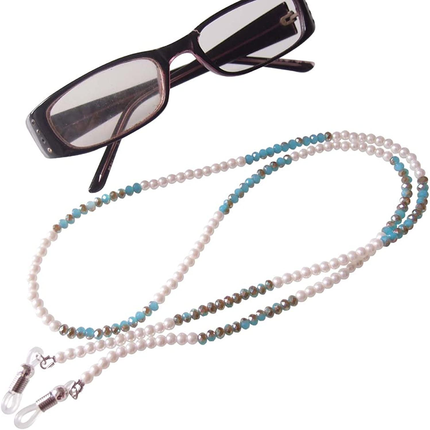 Sundysh Pearl Glasses Strap,Beaded Eyeglasses Necklace Lanyard, Eyewear Retainer Chain Cord Strip Holder