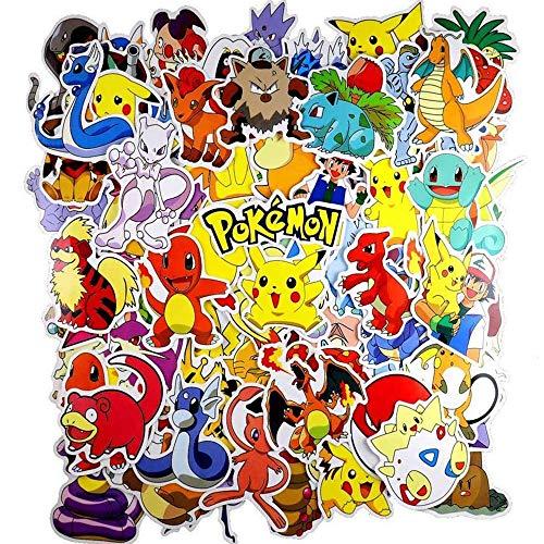 WayOuter Pokemon Sticker Aufkleber, 80 Stücke Anime Stickers einzigartige Kühle Aufkleber Kind Teenager Notebook Gitarre Skateboard Reise Aufkleber Wasserdicht