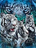 HommomH 60' x 80'Soft Blanket Air Conditioning White Tigers Blue Super Soft