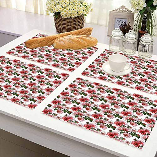 Non Slip Heat Resistant Table Mats Placemat, Ladybugs Exotic Flowers Hibiscus Hawaiian Foliage Illustration Botany Spring Blossom, Kitchen Table Mats Easy to Clean Set Of 8, Red Coral Green