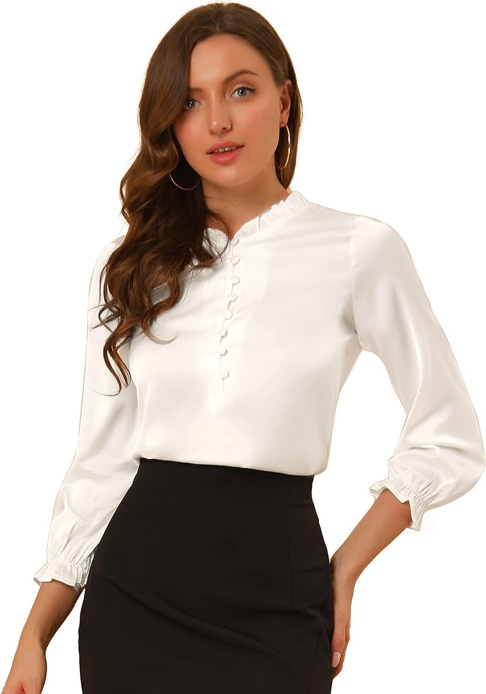 Allegra K Women's Ruffle Neck Bubble Sleeve Elastic Cuff Button Work Office Satin Blouse