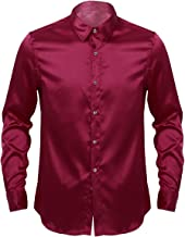 CHICTRY Men's Shiny Satin Silk Like Long Sleeve Dance Prom Button Down Dress Shirts