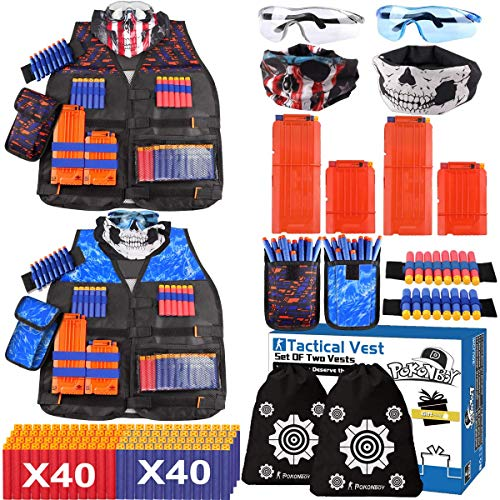 POKONBOY 2 Sets Tactical Vest Kits Compatible with Nerf Guns N-Strike Elite Series