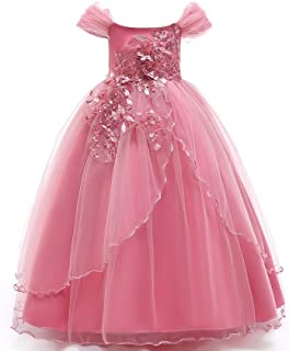 Girls Frocks Dress Embroidered Prom Gown Classic Birthday Wedding Party Long Communion Floor Kids Princess Lace Formal Dress