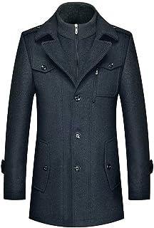 Flocean Men's Winter Coats Wool Blend Jacket Stand Collar Windproof Pea Coat