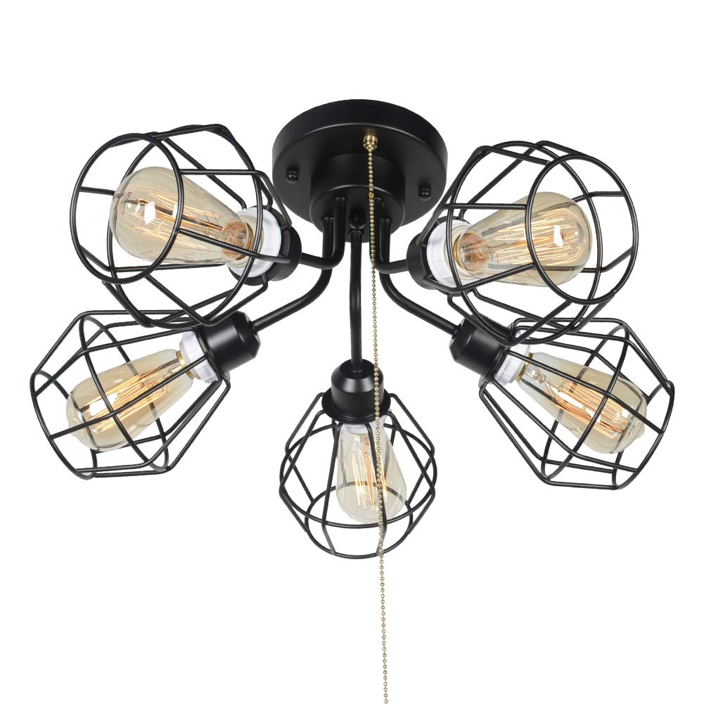 Baiwaiz Black Industrial Pull Chain Ceiling Light Fixture Metal Wire Cage Semi Flush Mount Light With Pull String Steampunk Modern Living Dining Room Kitchen Bedroom Light 5 Lights Edison E26 136 Amazon Com