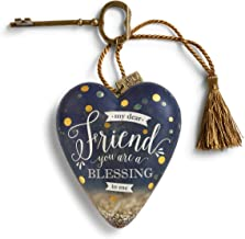 DEMDACO Dear Friend You are A Blessing to Me Gold Tone Confetti Midnight Blue 4 x 3 Inch Heart Shaped Resin Keepsake Art Hearts Decoration with Key and Tassel