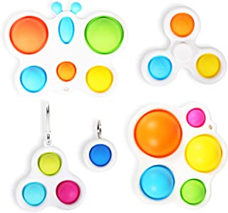 Dimple Fidget Toys for Kids Release Stress and Anxiety Portable Fidget Toy with Buckle Ring Stress Relief and Anti-Anxiety Puzzle Fun 4Pcs Simple Dimple Fidget Toy,Brain Teaser for Toddlers
