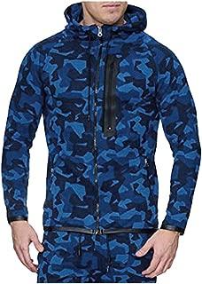 YFancy Mens Camouflage Print Zipper Hoodies Casual Long Sleeve Hooded Sweatshirt Drawstring Slim Fit Sport Outwear