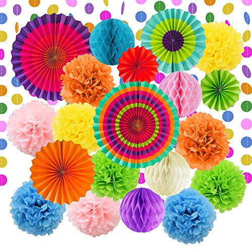 LURICO Party Decoration, 21 Pcs Multi-Color Hanging Paper Fans, Pom Poms Flowers, Garlands String Polka Dot for Birthday Parties, Wedding Décor, Fiesta or Mexican Party