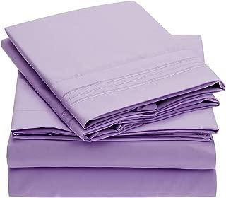 Mellanni Bed Sheet Set Brushed Microfiber 1800 Bedding - Wrinkle, Fade, Stain Resistant - Hypoallergenic - 4 Piece (Full, Violet)