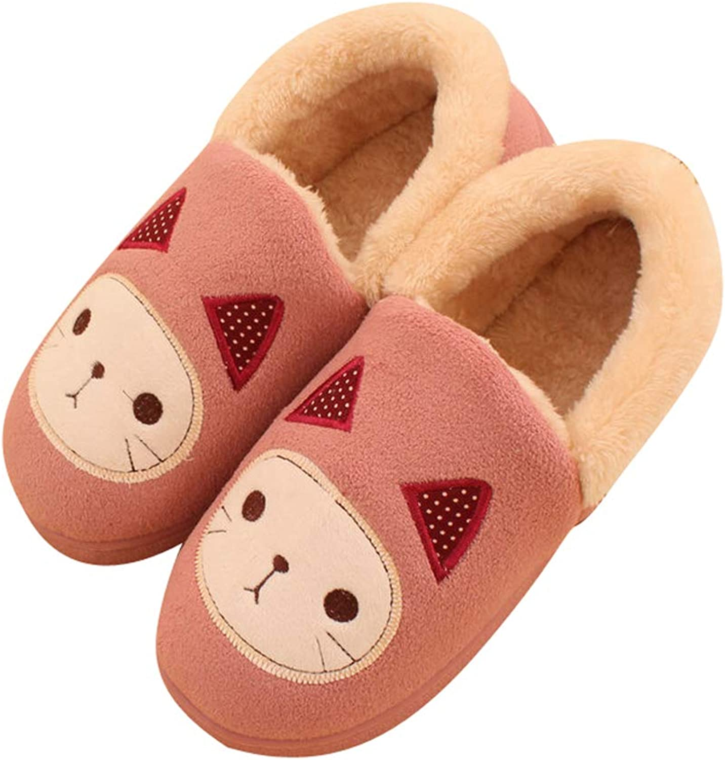 Baviue Women's Cute Cartoon Cat Fuzzy Indoor Outdoor Bootie Slippers