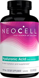 NeoCell Hyaluronic Acid, Daily Hydration for Skin Hydration & Suppleness, 120mg, 60 Capsules (Package May Vary)