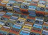 Qualitativ hochwertiger Jersey Stoff mit Kassetten im Retro
