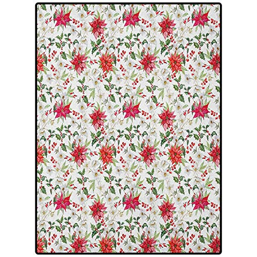Watercolor Table Nursery Carpet Mat Easy to Clean Living Dining Room Rug Fresh Poinsettia Flowers and Rowan Berry Branches Christmas Garden Vermilion Green Magenta 84' x 60'