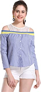 SZIVYSHI Long Sleeve Cold Open Shoulder Floral Lace Spliced Button Front Striped Stripe Colorblock Blouse Shirt Top Blue White