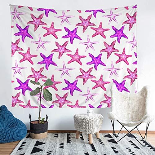 Loussiesd Manta para colgar en la pared, diseño de estrella de mar, color rosa, para niños, playa hawaiana, Sealife, manta de cama ultra suave, decoración de habitación, tamaño grande de 152 x 201