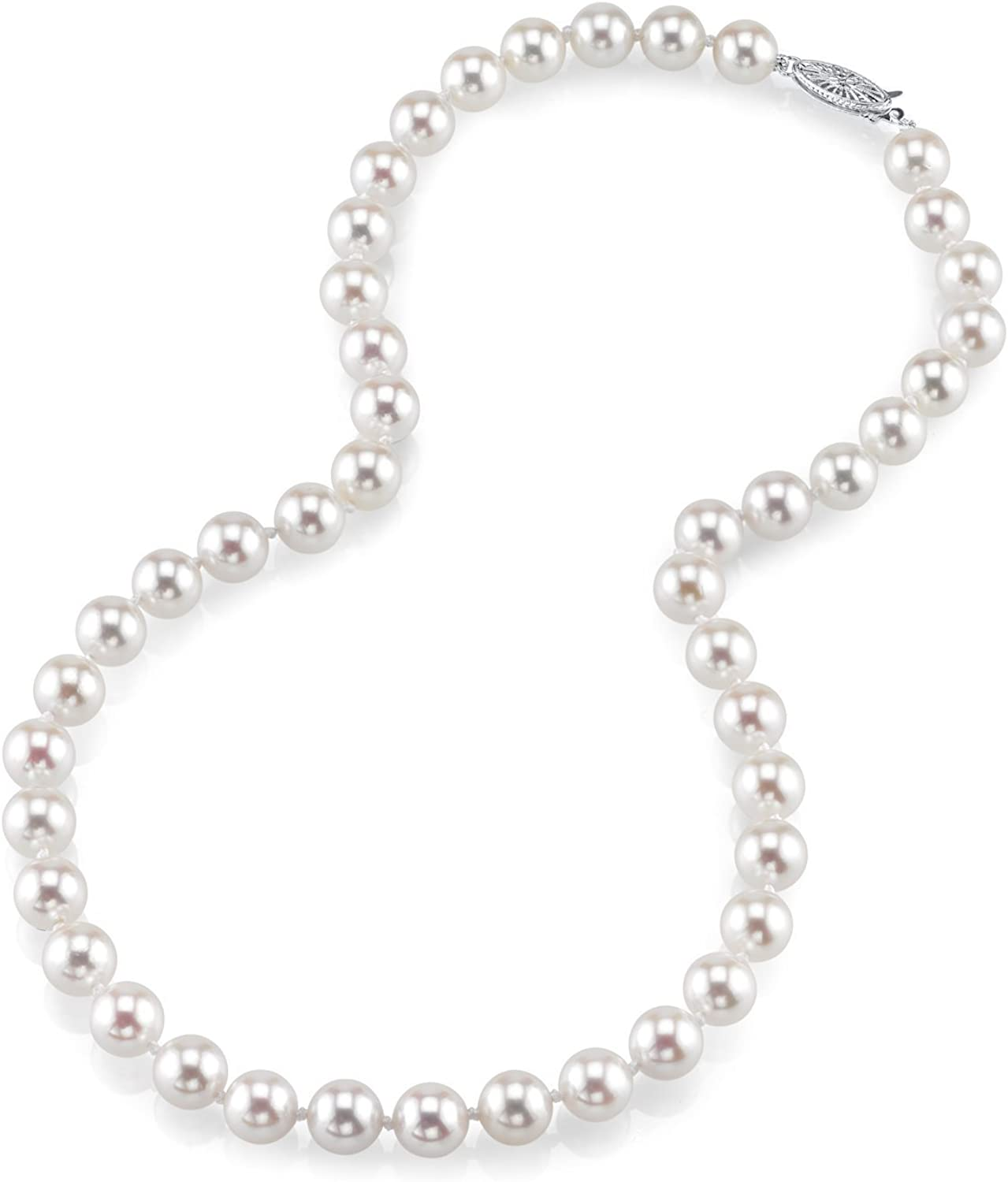 THE PEARL SOURCE 18K Gold Round Genuine White Japanese Akoya Saltwater Cultured Pearl Necklace in 17